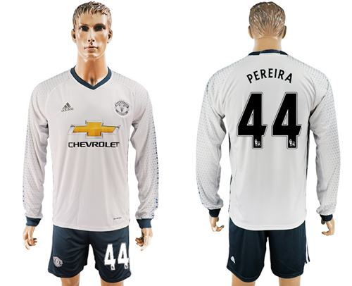 Manchester United #44 Pereira Sec Away Long Sleeves Soccer Club Jersey